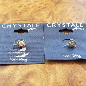 Crystale by L&J Colorful Cyrstal Toe Ring Duo
